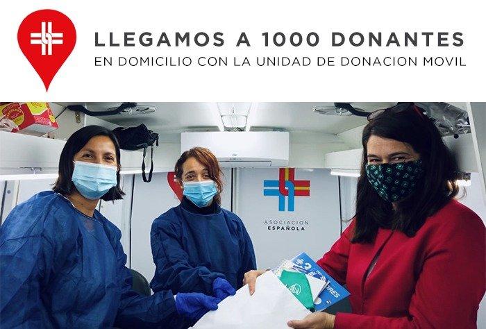 La Asociación Española llegó al donante de sangre 1.000 con su Unidad Móvil de Donación a domicilio