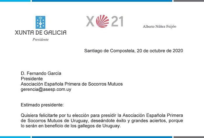 Presidente de Xunta de Galicia saluda a Fernando García por su asunción al frente del Consejo Directivo de la Española
